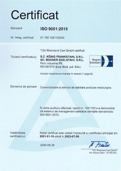 Certificat Bogner ISO 9001:2015