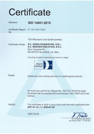 Certificate Bogner ISO 14001:2015