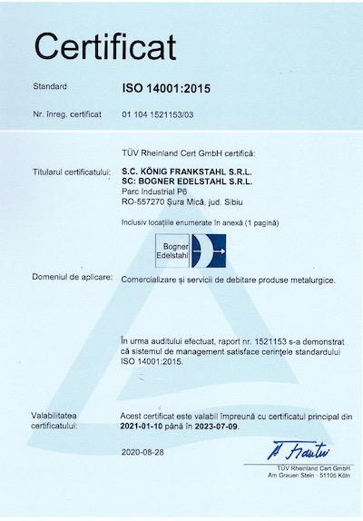 Certificat Bogner ISO 14001:2015